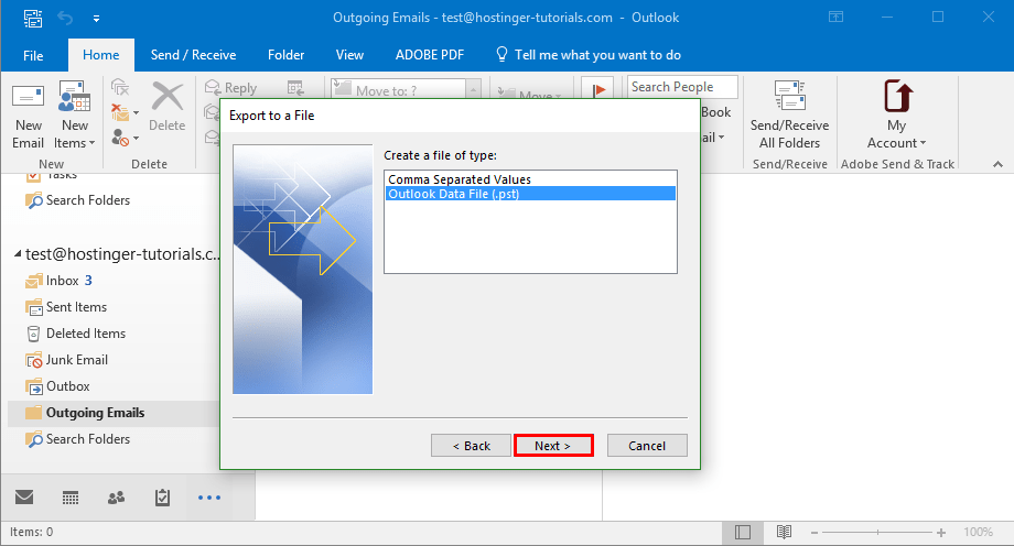 Outlook Export Choose File Type