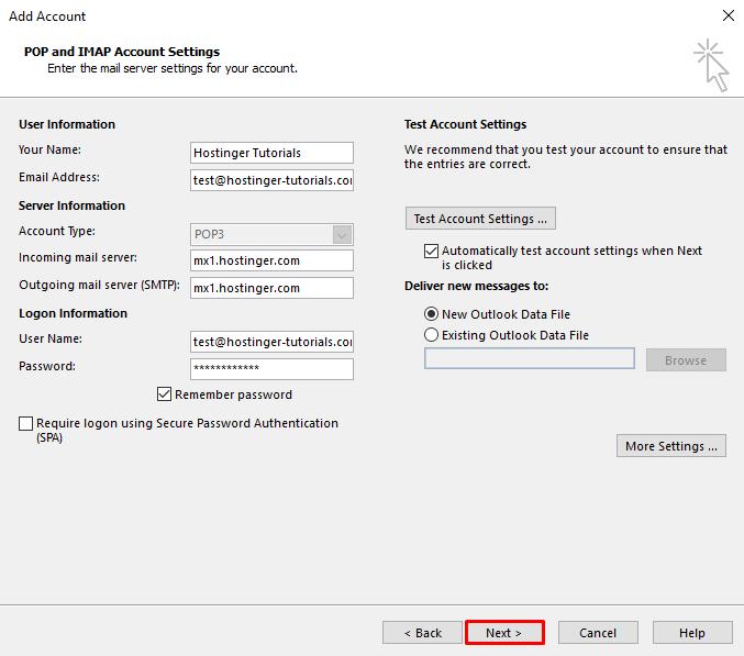 Outlook Hesap Ekleme