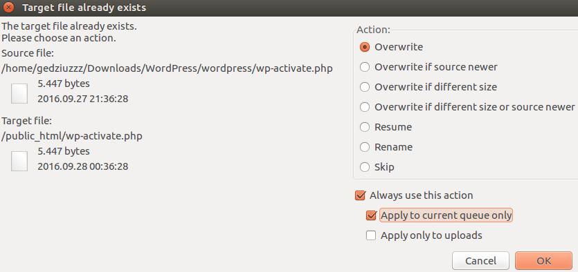 Confirming the overriding of WP core files via FileZilla