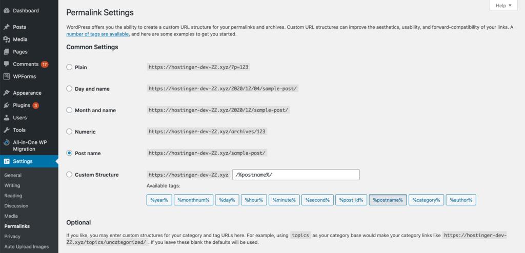 Changing permalink settings in WordPress.