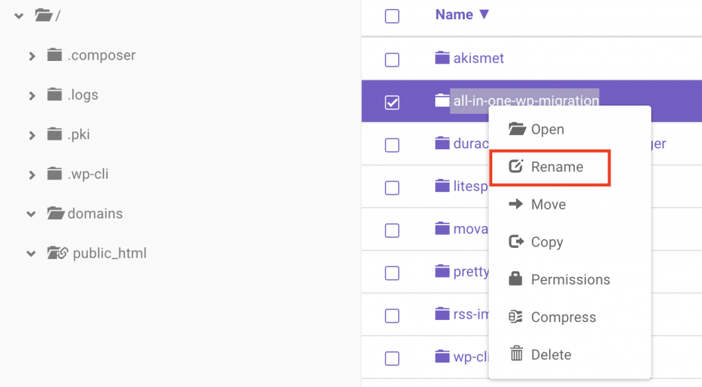 right click to rename a plugin