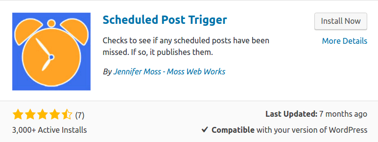 Scheduled Post Trigger plugin in WordPress Dashboard used to fix wordpress missed schedule