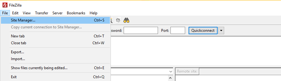 FileZilla client Site Manager location