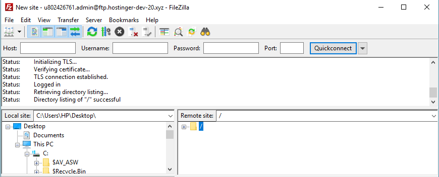 This image shows you a successful FileZilla connection
