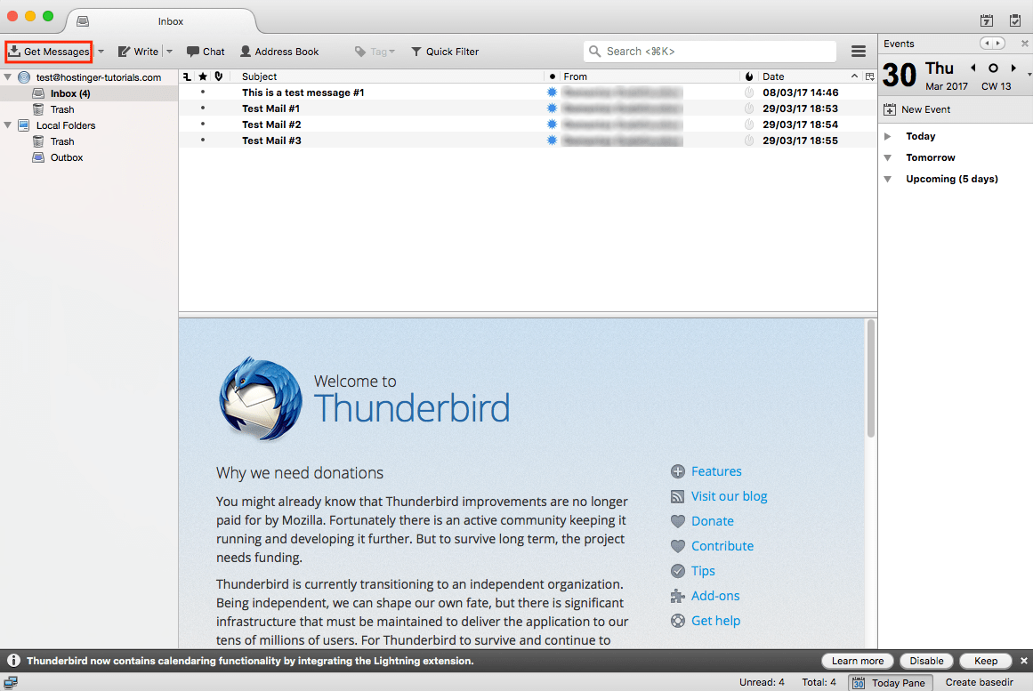 Thunderbird Get Messages Button