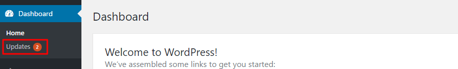 WordPress Updates in Dashboard