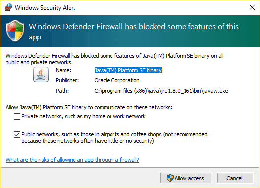 This image shows you how to allow Minecraft servers through the firewall