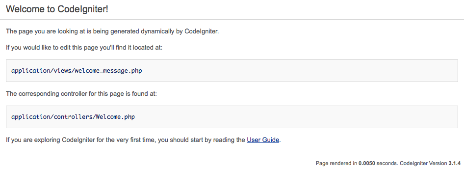 Codeigniter Tutorial Welcome Screen