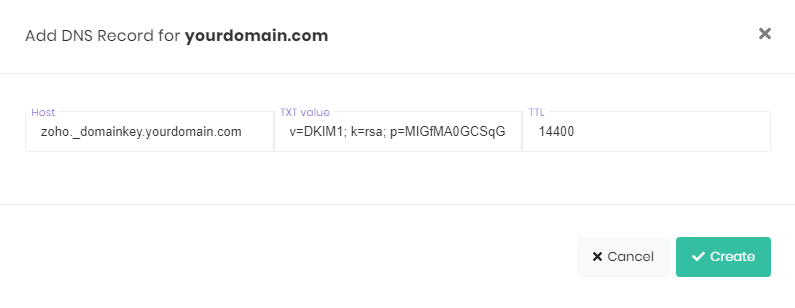 Creating a DKIM record in hPanel