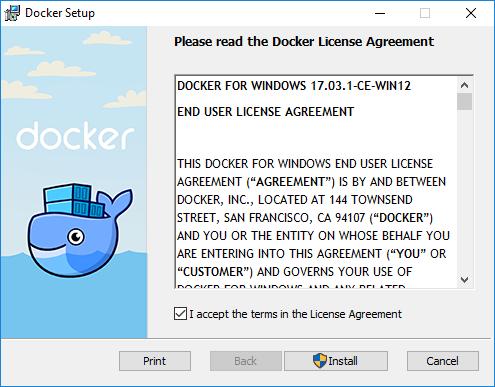 Docker Install on Windows 10