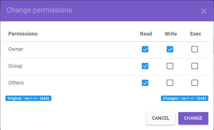 definir permissões de acesso nos arquivos no gerenciador de arquivos