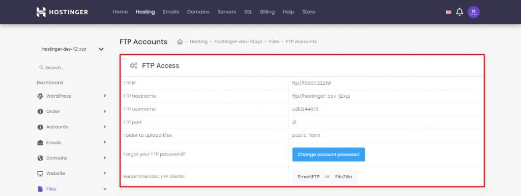 The FTP details in Hostinger's hPanel