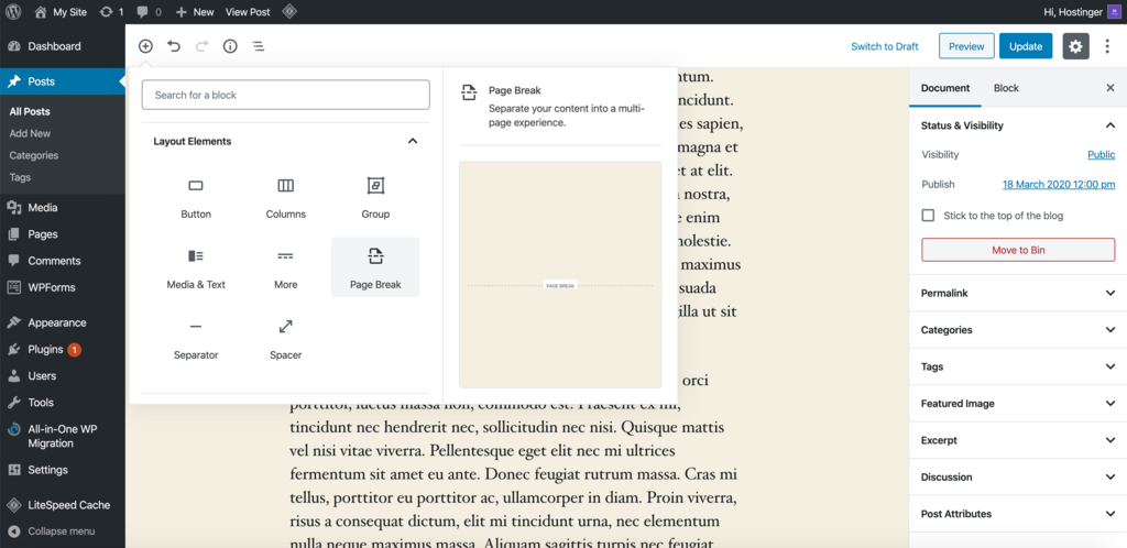 Paginating a post using the Gutenberg Editor