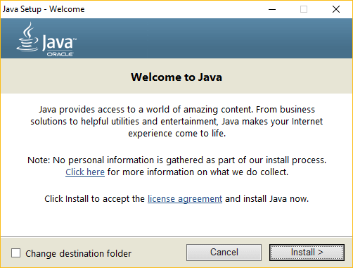 Installing the latest version of Java on Windows