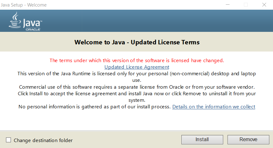 Java installation for Windows