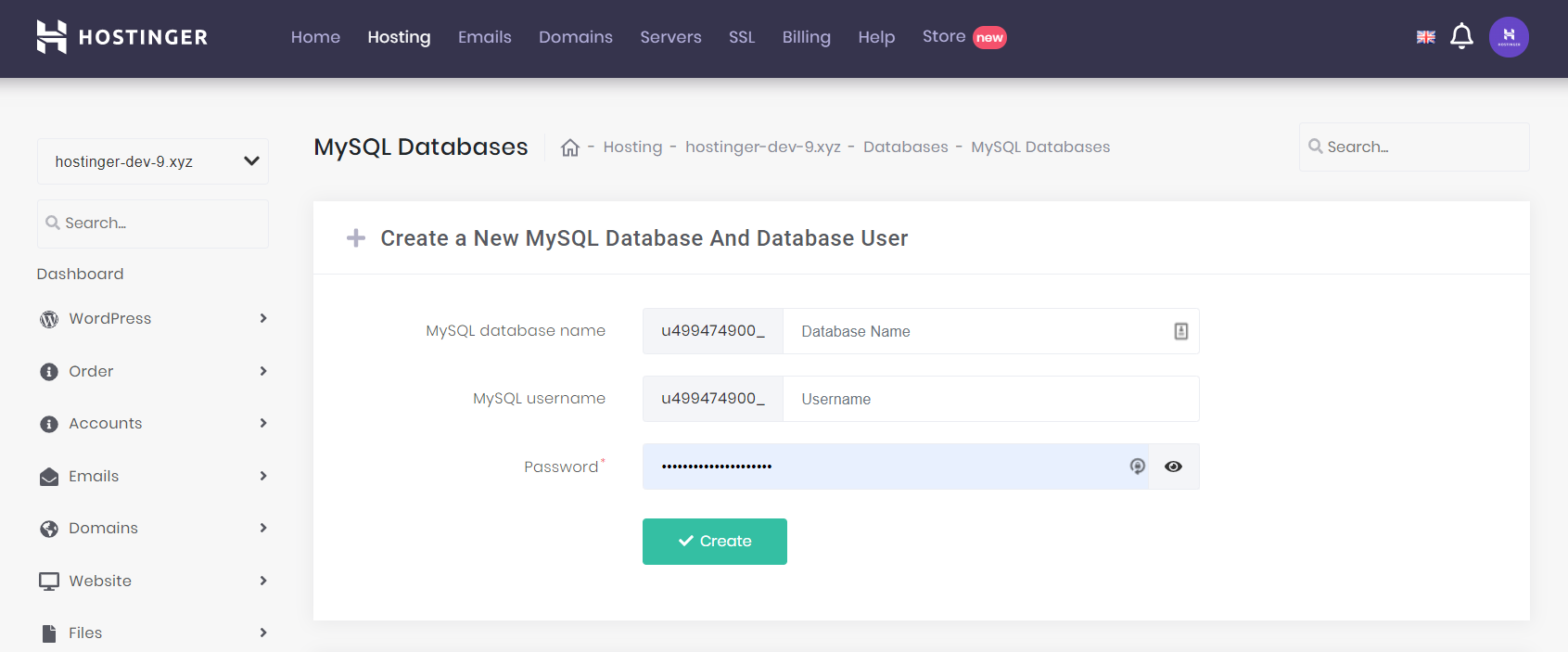 MySQL menu on Hostinger's hPanel to create a MySQL database
