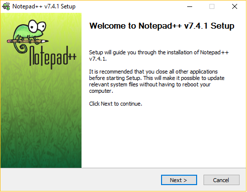 Notepad++ installation wizard