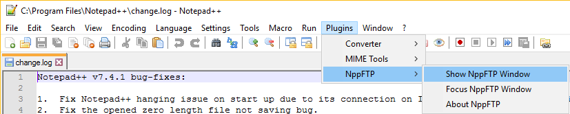 Making an FTP connection with Notepad++ using the nppFTP plugin