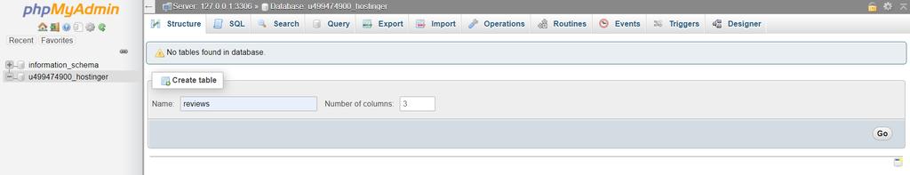 phpMyAdmin menu interface