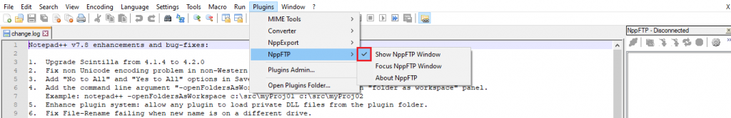 This image shows you how to display the settings of NppFTP plugin