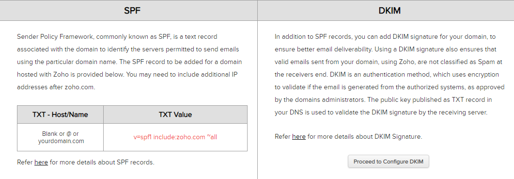 Setting up SPF and DKIM authentication methods in Zoho