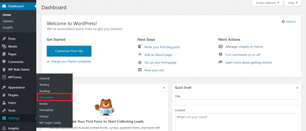 This image shows you how to access the Discussion section from WordPress admin dashboard.