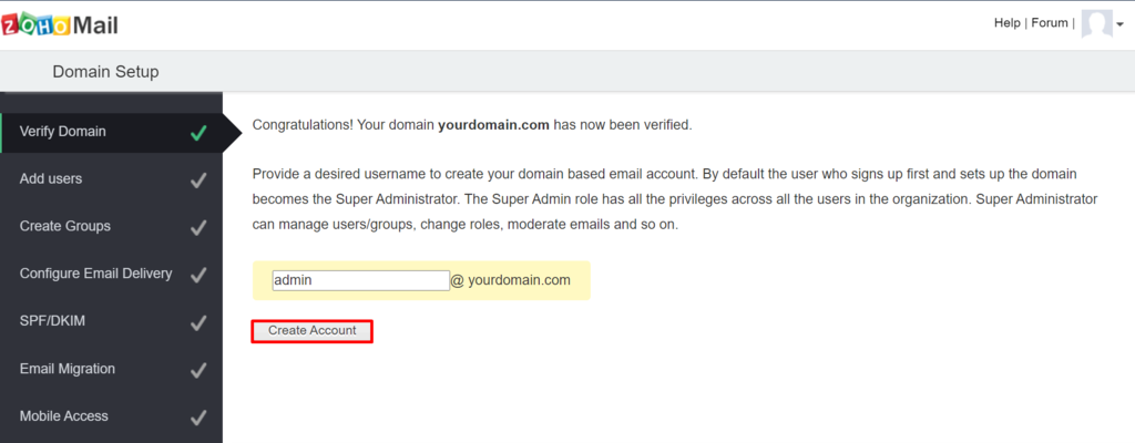 Creating an account in Zoho Mail.