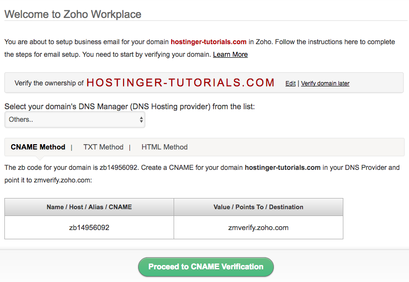 Zoho Domain Verification Details