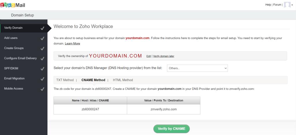 Zoho Mail domain setup page.