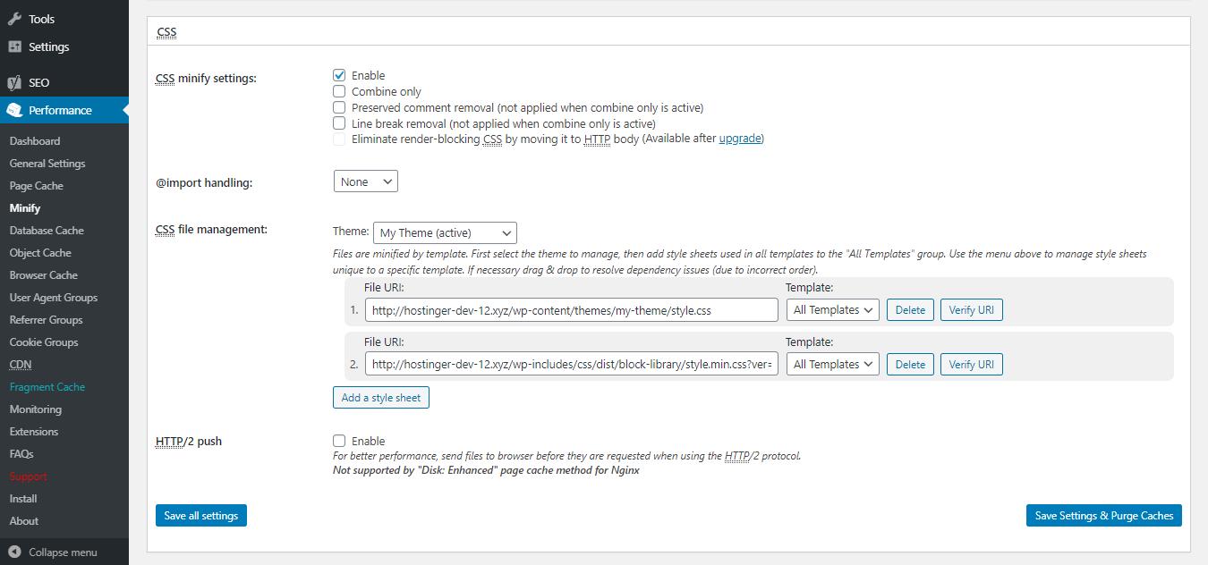 Elimine los recursos jss que bloquean la representación con el complemento W3 Total Cache