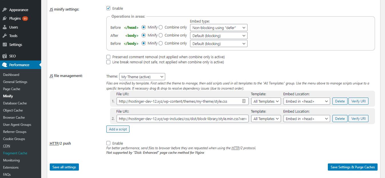 Eliminar recursos JS de bloqueo de renderizado con W3 Total Cache plugin