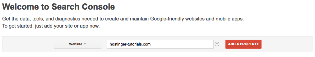 Add Site to Google Search Console