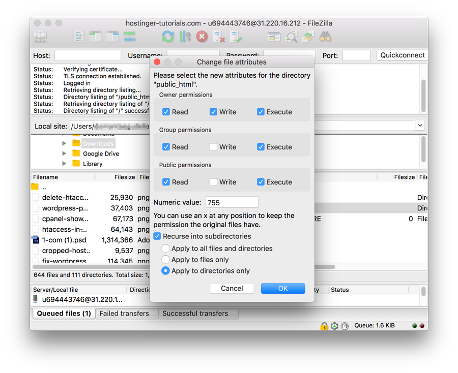 Ubah Permission Folder dengan FileZilla