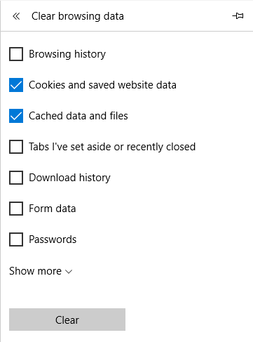 Clear Cookies on Microsoft Edge