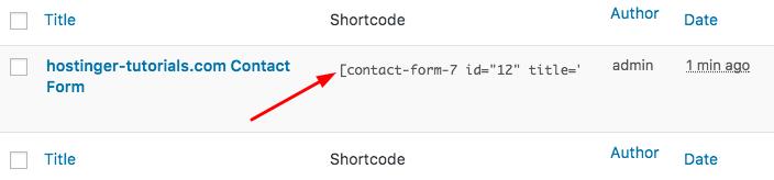 WordPress Contact Form 7 Shortcode