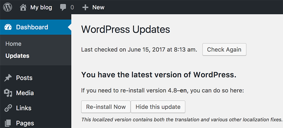 Wordpress Version in Updates Section