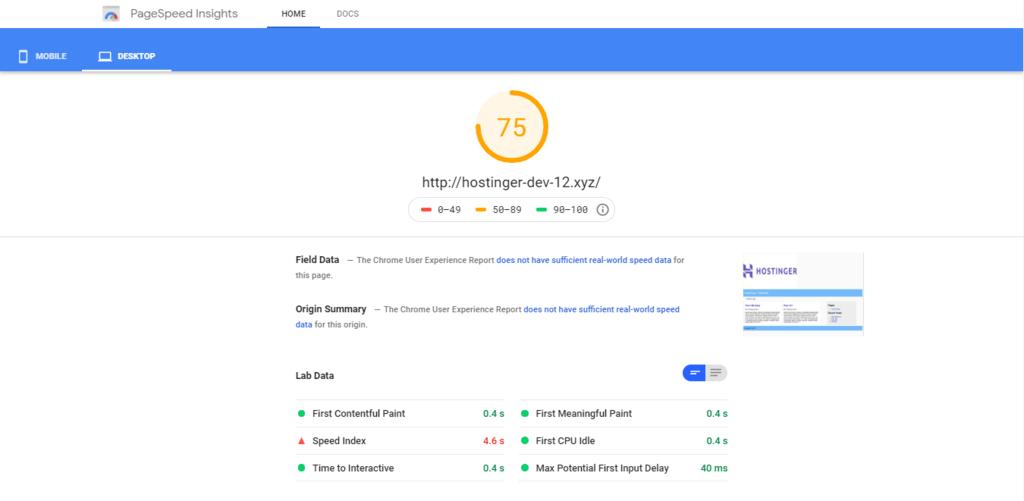 Google Page speed insight score of your website