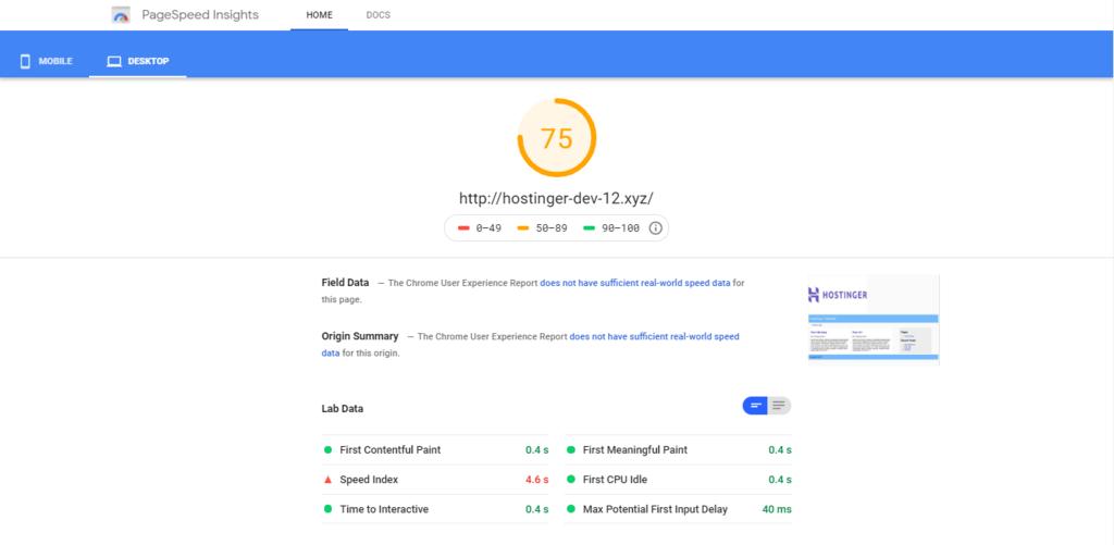 Anota información sobre la velocidad de la página de Google de tu sitio web