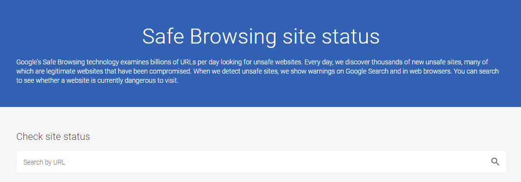 Checking site status using Google Safe Browsing tool