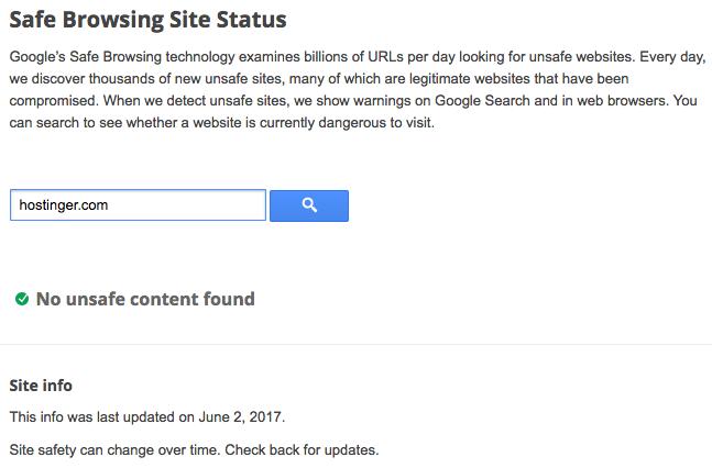 Safe Browsing Site Status