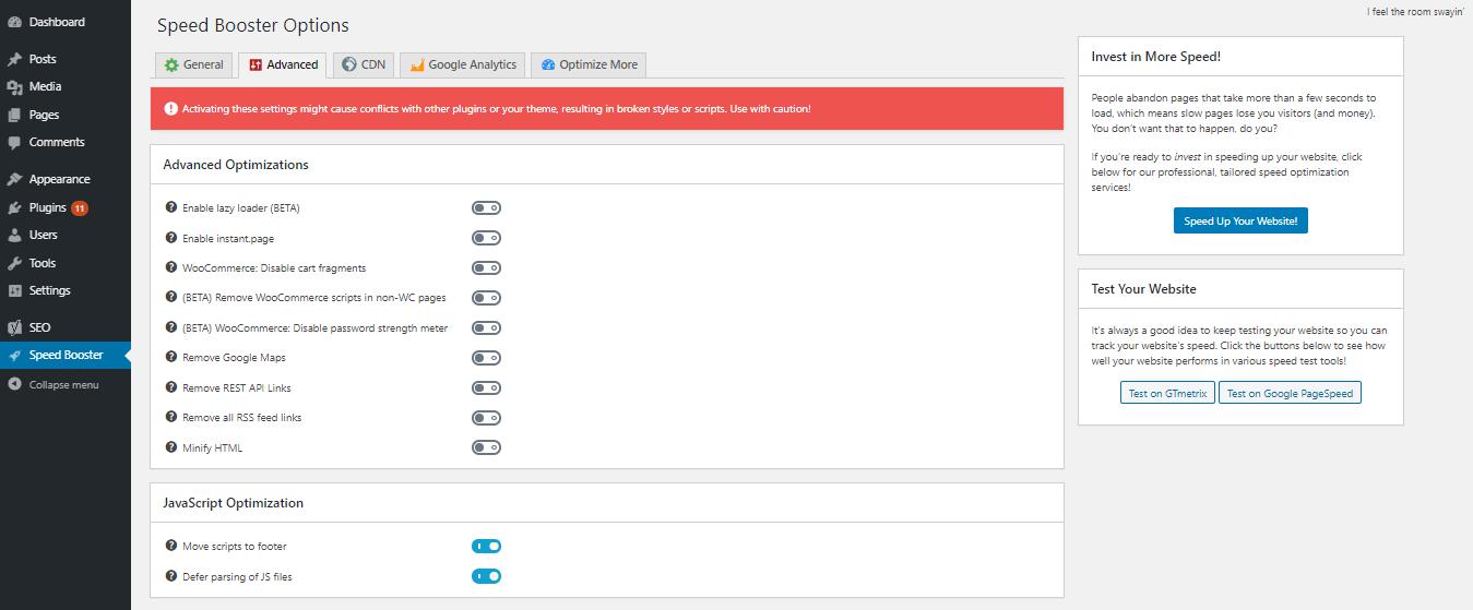 Habilite la navegación de scripts en el pie de página y el aplazamiento del análisis de archivos JavaScript en la sección Optimización de JavaScript para corregir la eliminación de bloques de representación javascript y CSS en el error de plegado anterior
