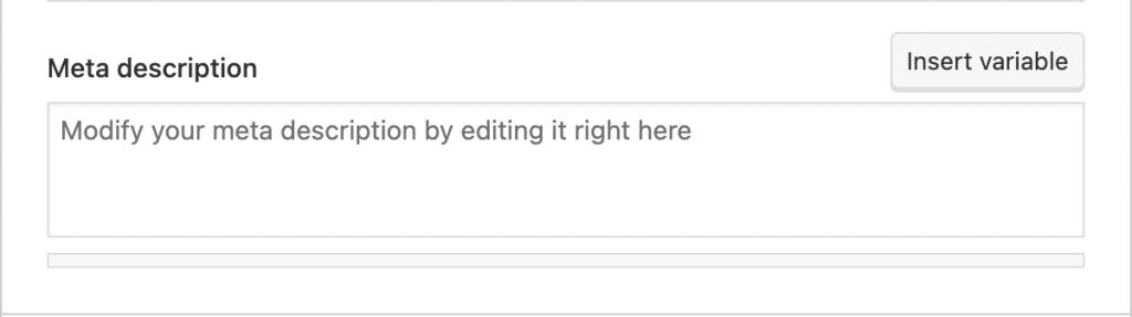 Meta description box to modify and edit your meta description