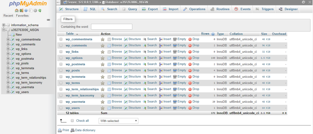 the administration page of phpMyAdmin
