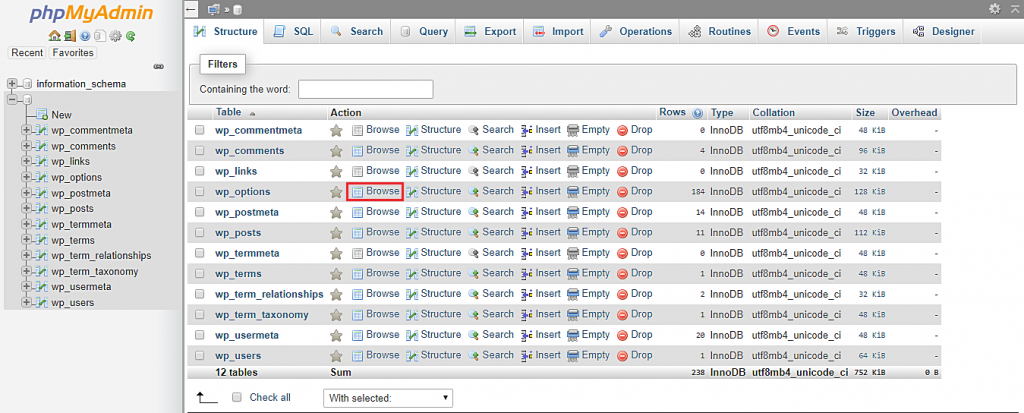 This image shows you how to browse the wp_options table in phpMyAdmin.