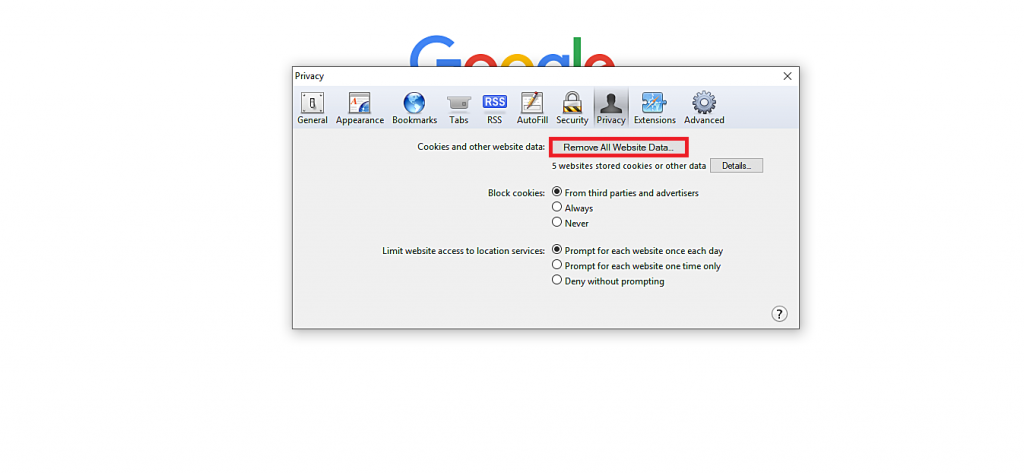 This image shows you how to clear cookies and cache in Safari.