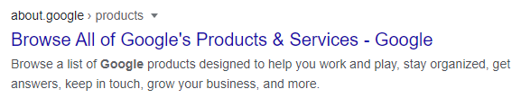 meta description of about.google products