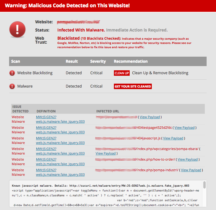 Finding cause of the site ahead contains harmful programs Error on WordPress