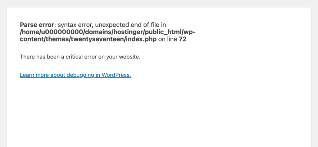 A syntax error message appears on the homepage.