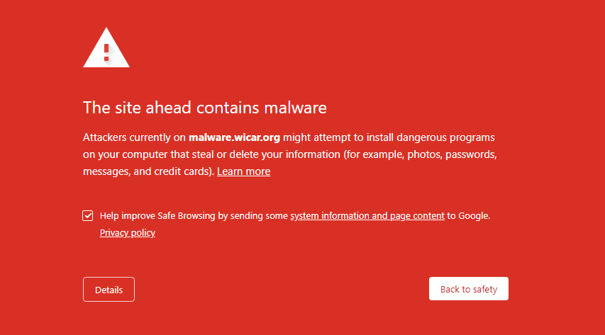 "Example of a ""Deceptive site ahead"" warning message"