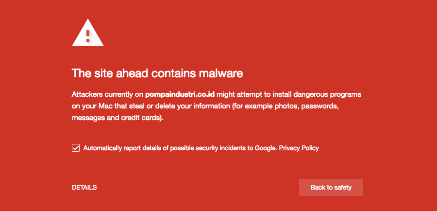 trang web sắp truy cập chứa chương trình độc hại